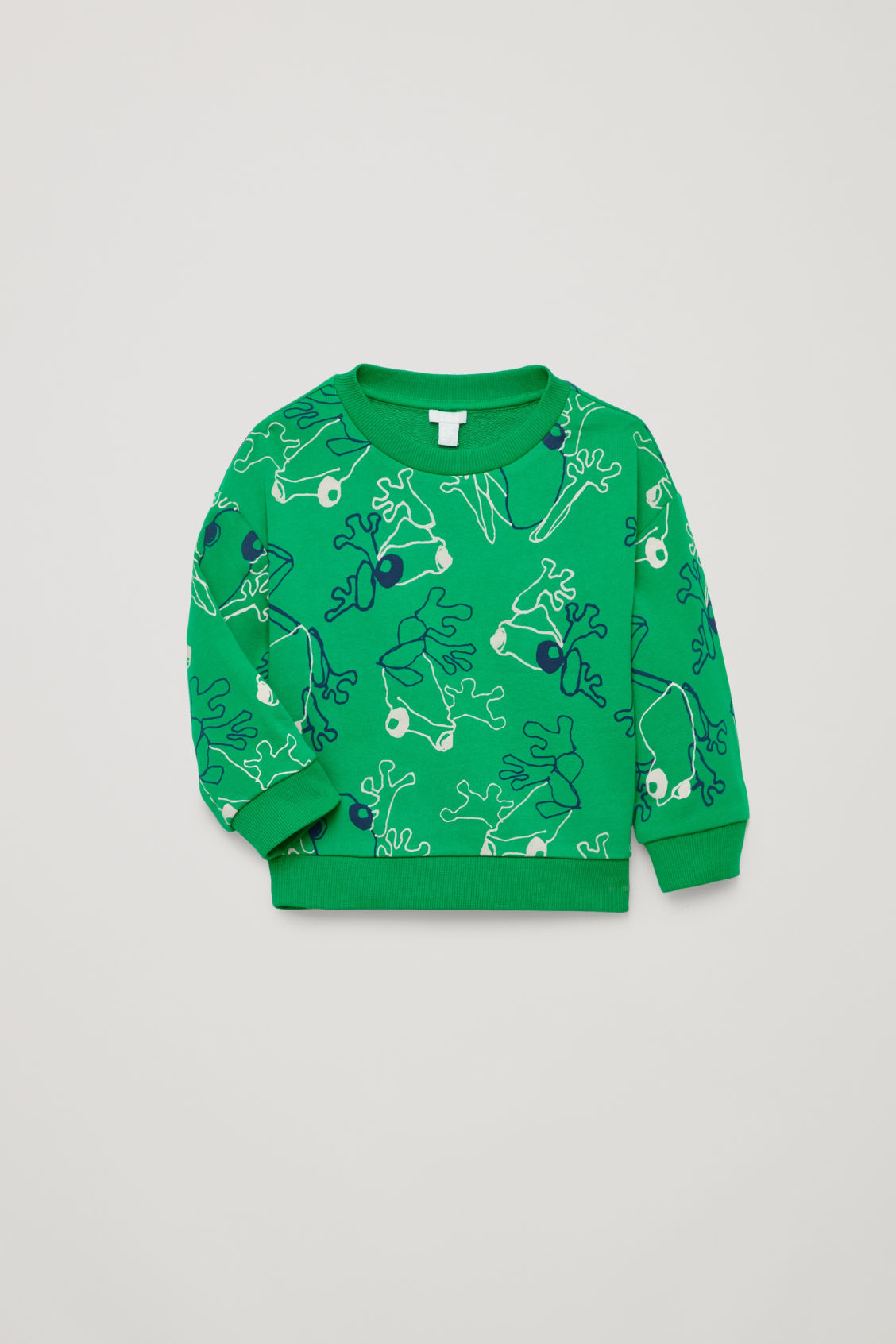 Detailed image of Cos frog print cotton sweatshirt in green