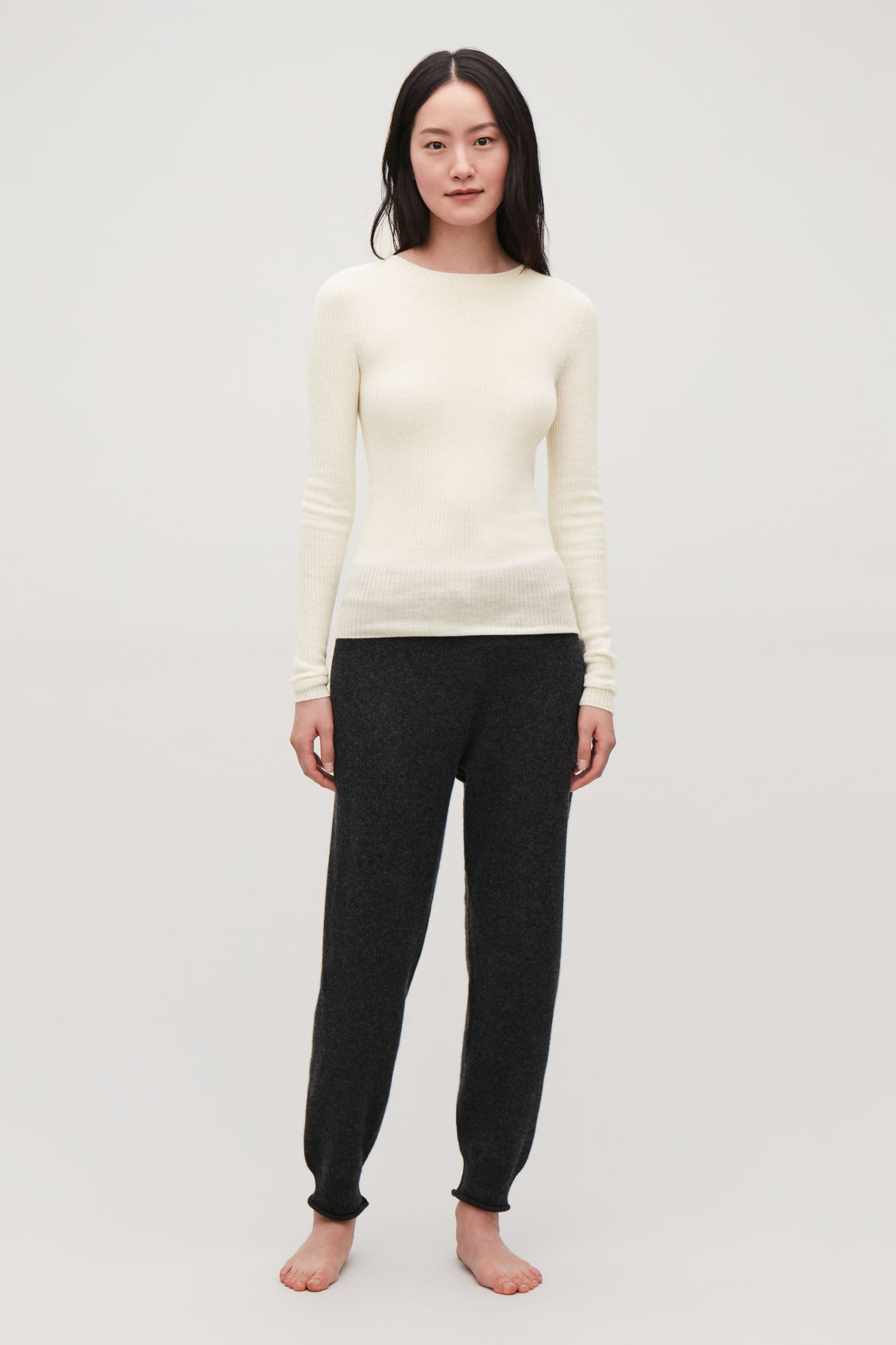 Detailed image of Cos ribbed fine-knit cashmere top in neutral