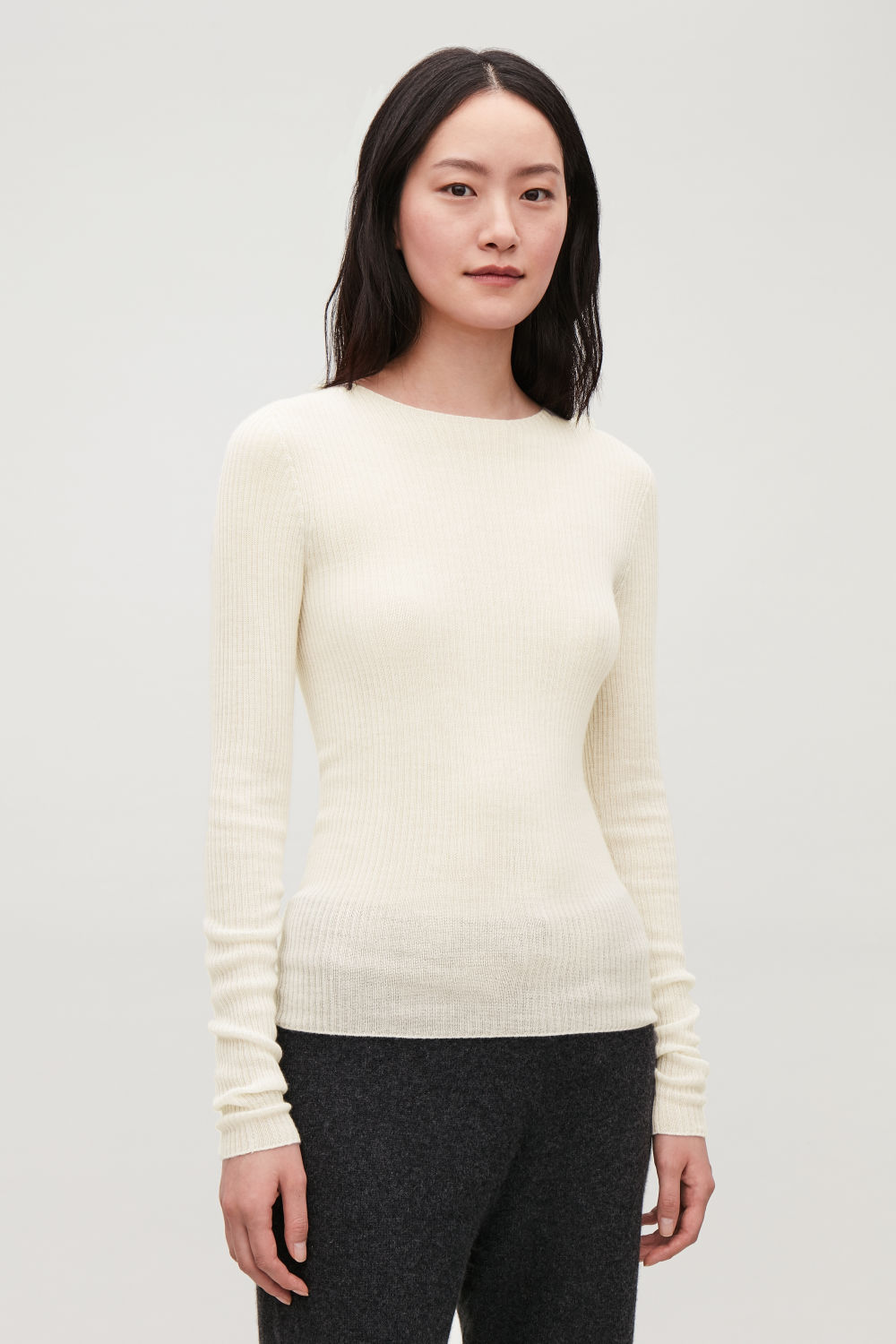 RIBBED FINE-KNIT CASHMERE TOP