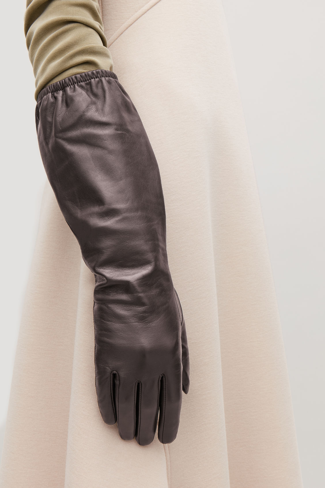 Detailed image of Cos long leather gloves in brown