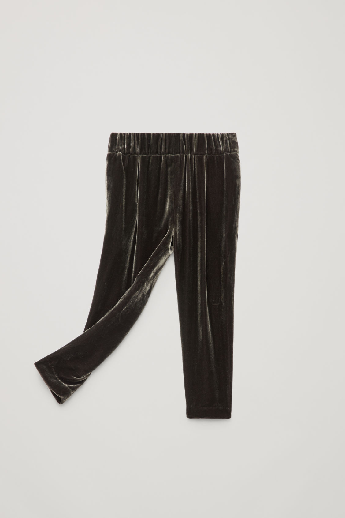 Detailed image of Cos velvet pleated trousers in grey