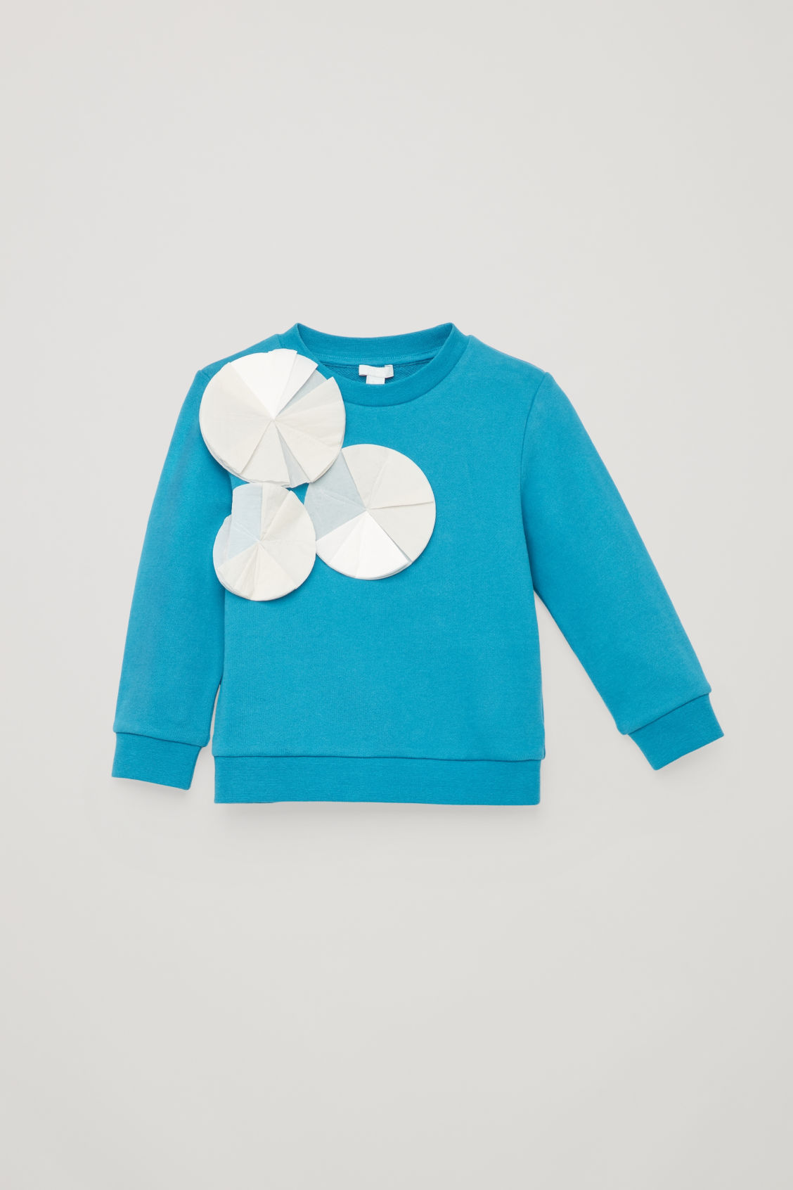 Detailed image of Cos cotton sweatshirt with applique in blue