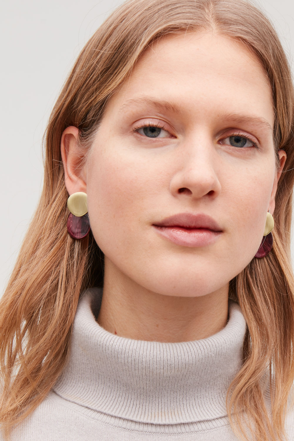 MIX-MATERIAL DISC EARRINGS