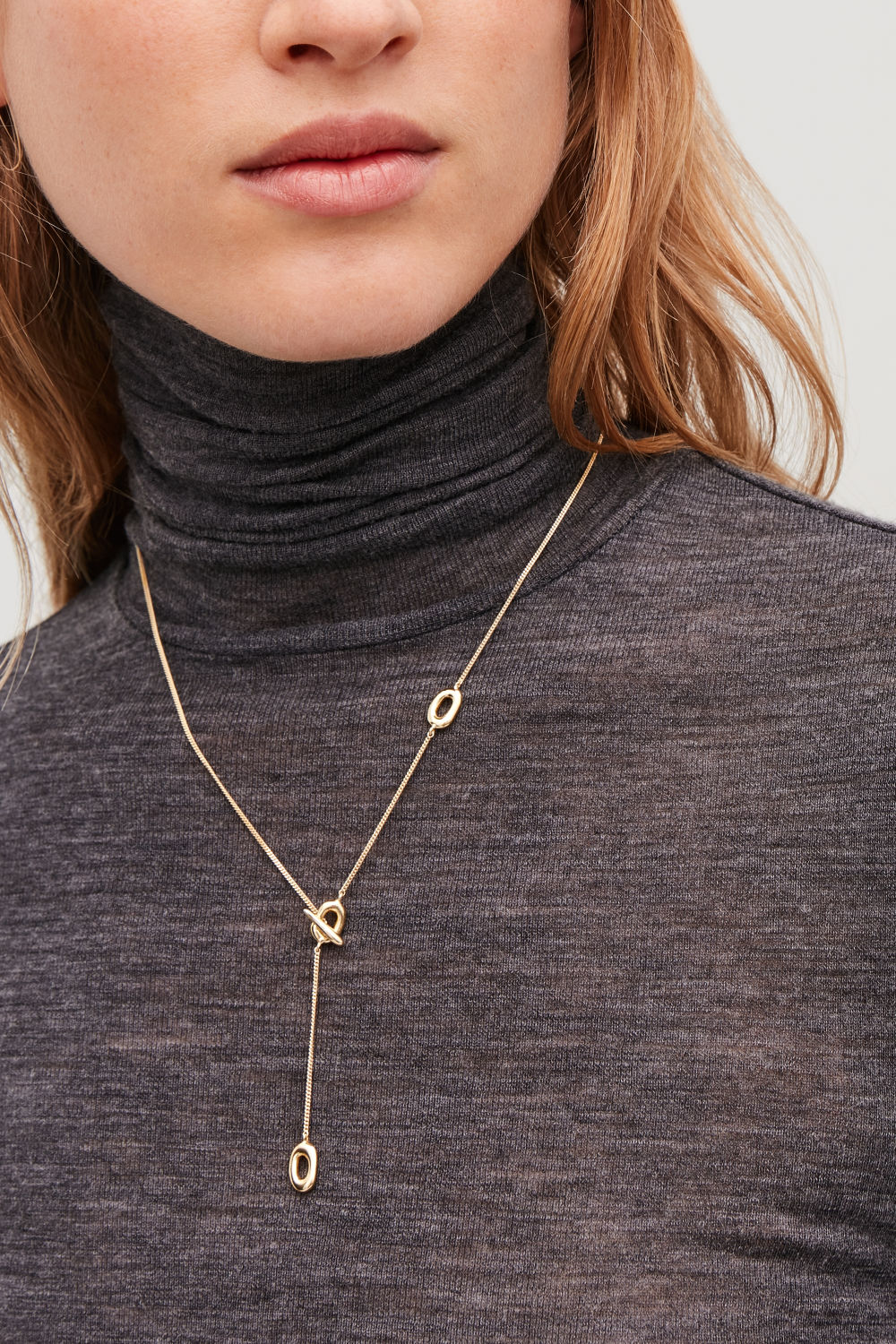 GOLD-PLATED LARIAT NECKLACE