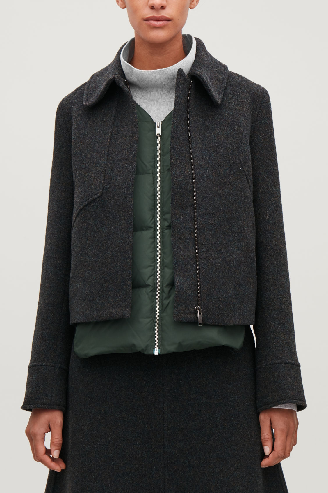 Detailed image of Cos v-neck padded gilet  in green