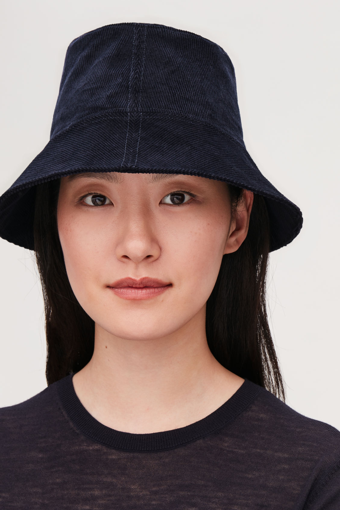 Detailed image of Cos corduroy bucket hat in blue