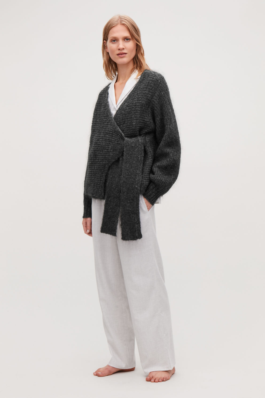 Detailed image of Cos chunky-knit wrap cardigan in grey
