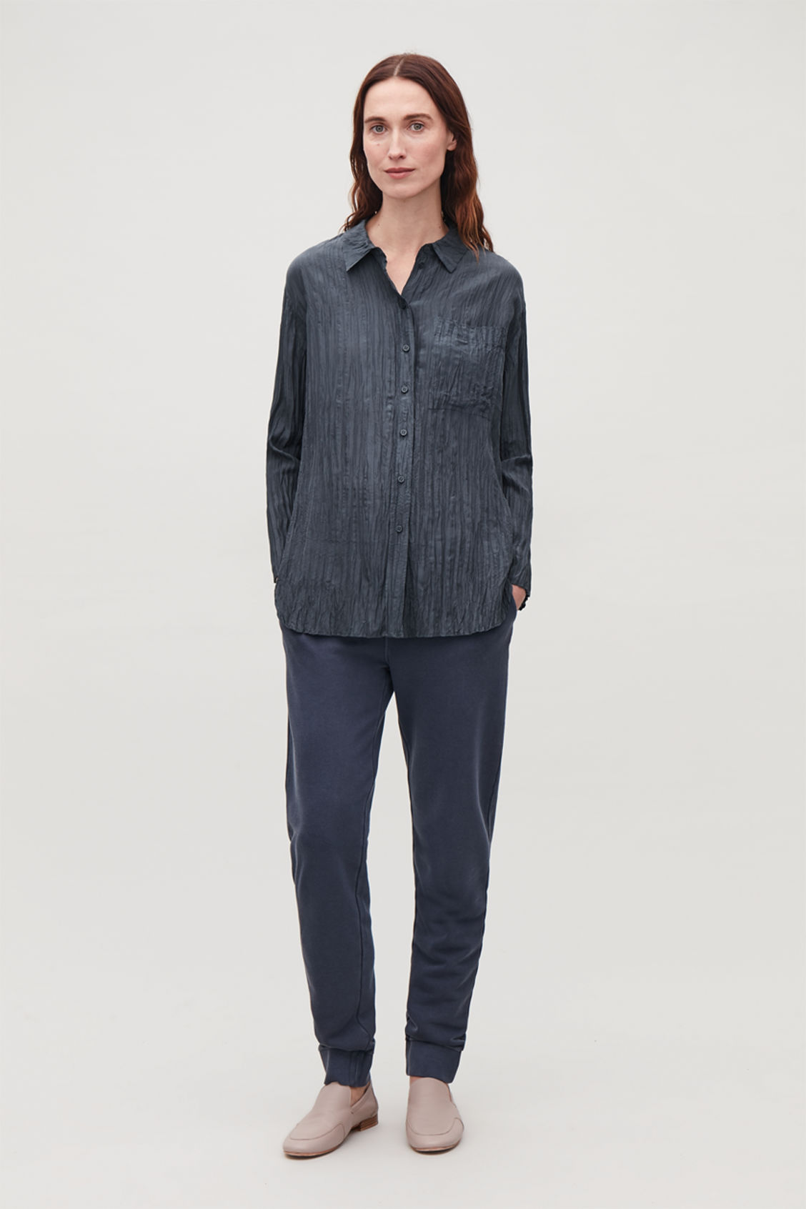 Detailed image of Cos crinkled silk shirt in blue