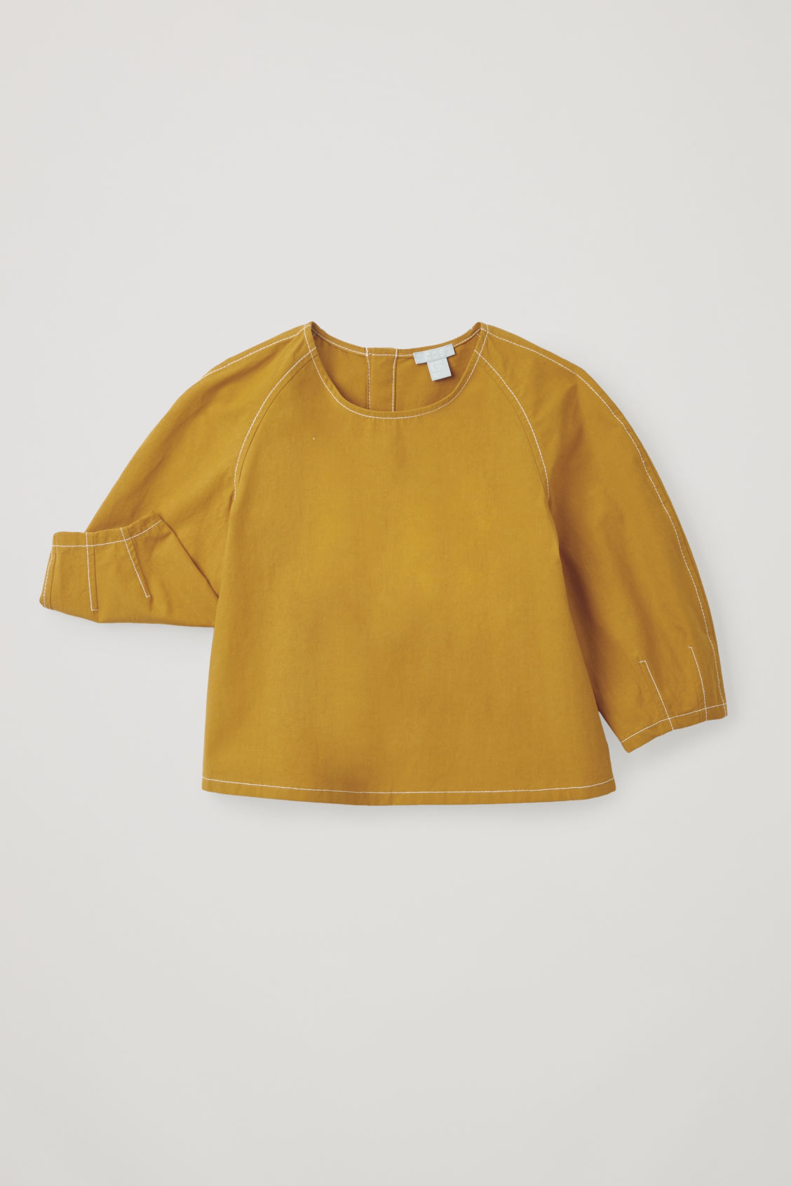 Detailed image of Cos contrast-stitch cotton top in yellow