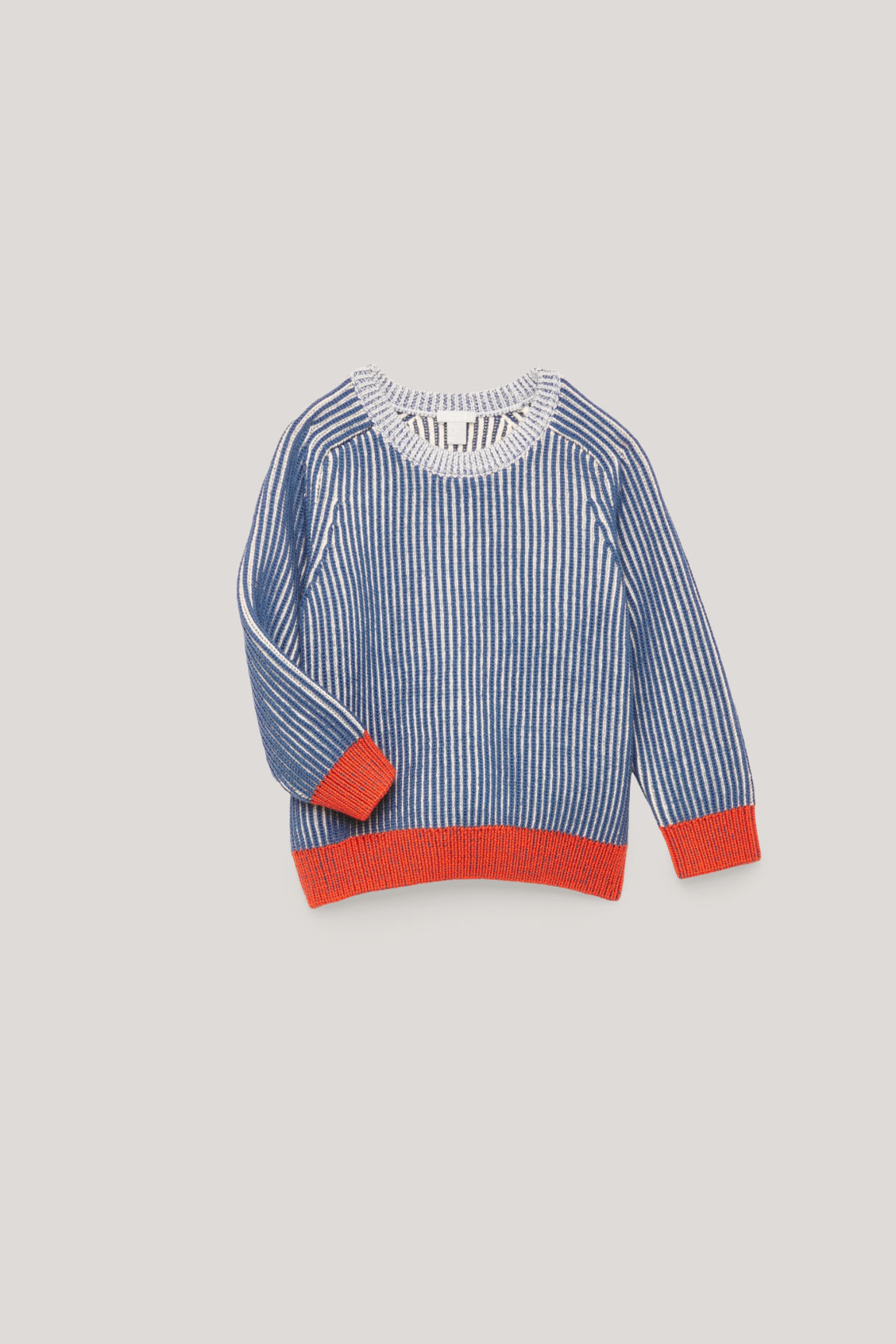 Detailed image of Cos half-cardigian stitch jumper in blue