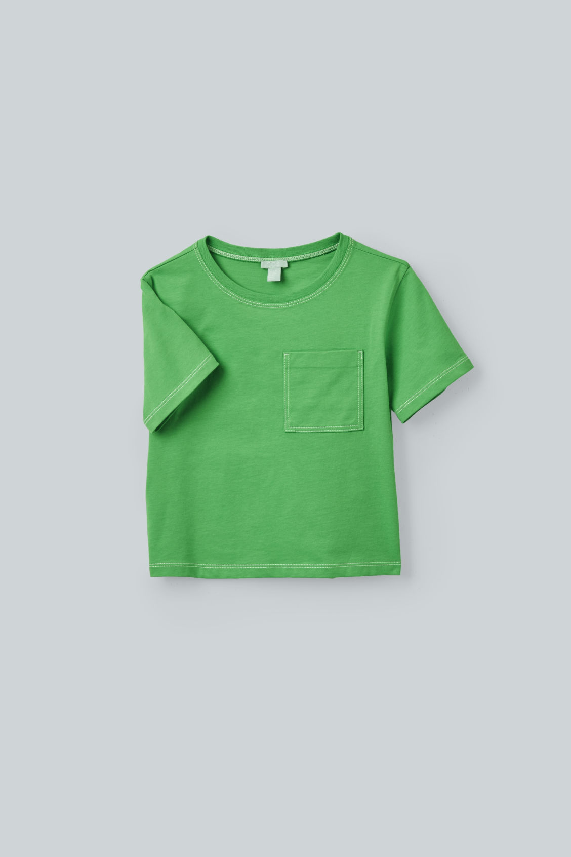 Detailed image of Cos topstitched organic-cotton t-shirt in green