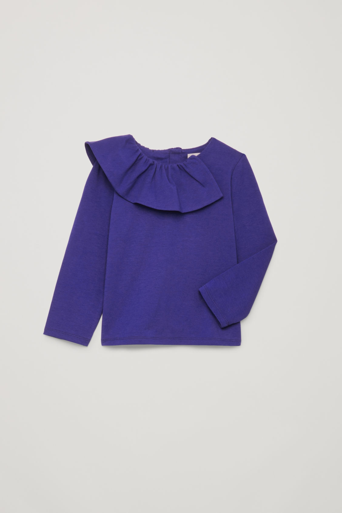 Detailed image of Cos pleated-neck cotton top in blue