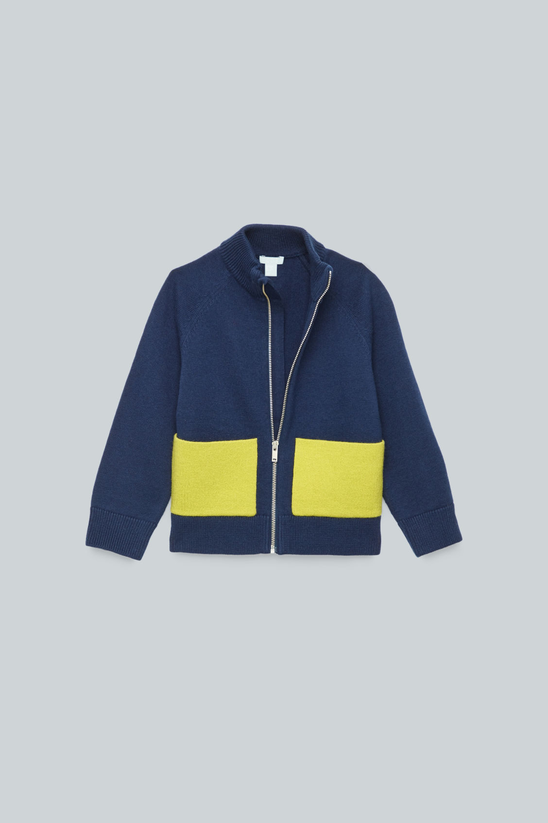Detailed image of Cos patch pocket zip-up cardigan in blue