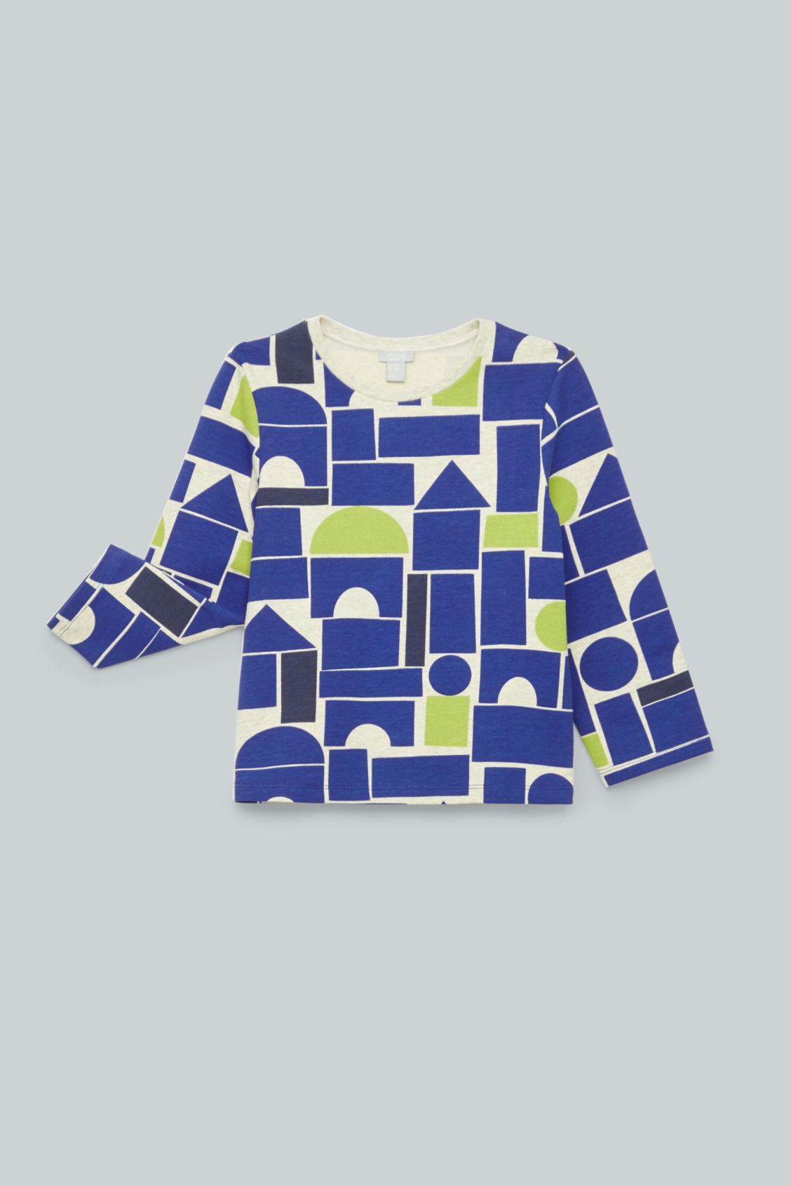Detailed image of Cos geometric-printed jersey top in blue