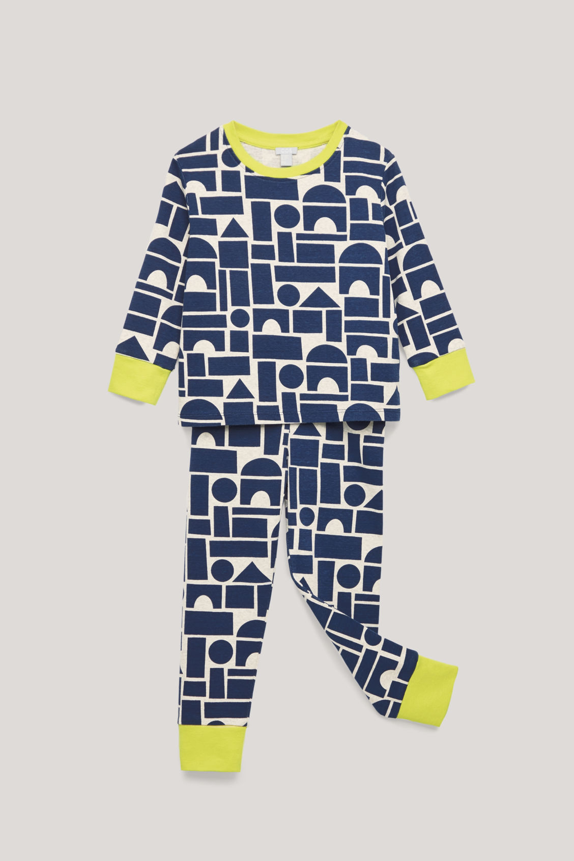 Detailed image of Cos organic-cotton pyjama set in blue