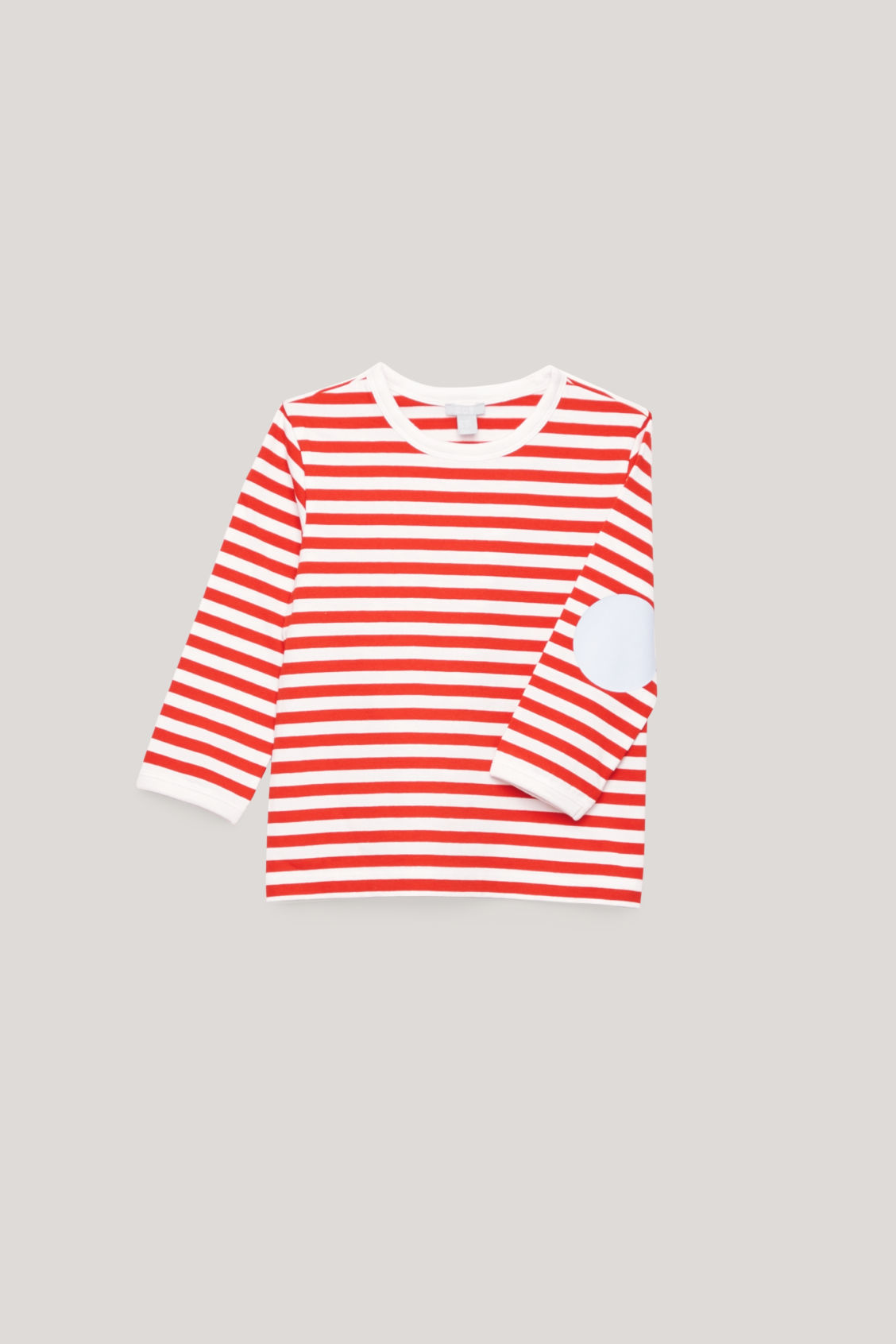 Detailed image of Cos striped top with elbow patches in orange