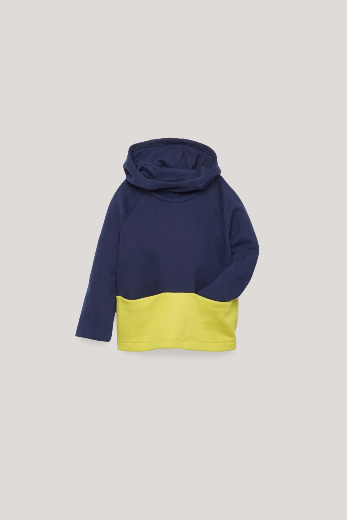 Detailed image of Cos colour-block jersey hoodie in blue