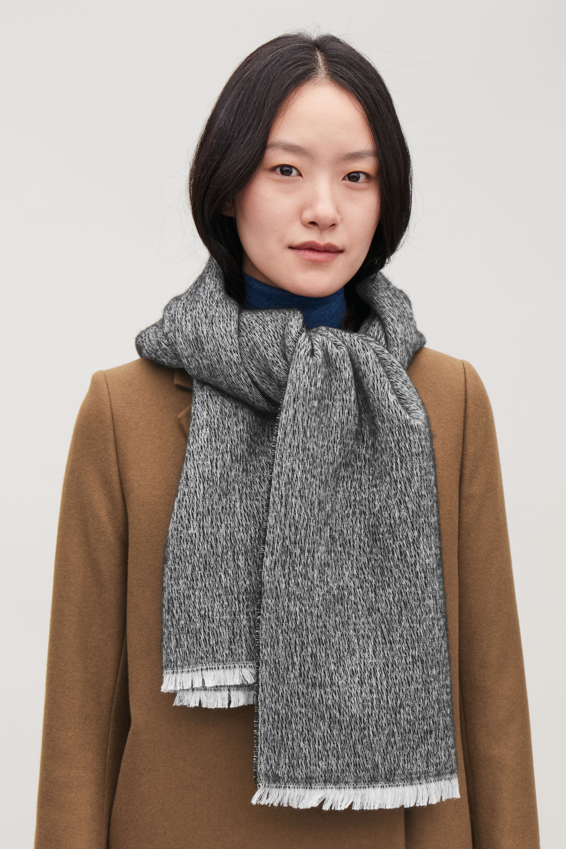Detailed image of Cos cotton-wool scarf in black