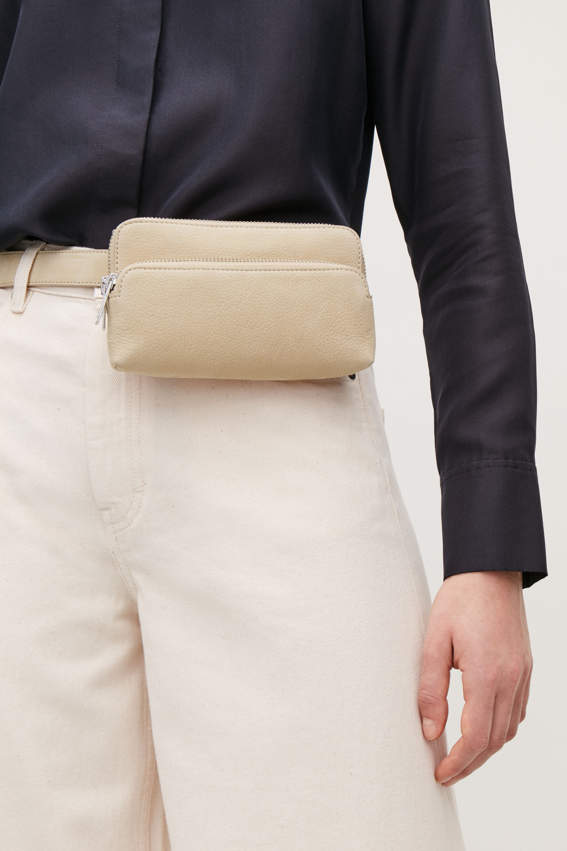 Detailed image of Cos leather purse belt bag  in beige