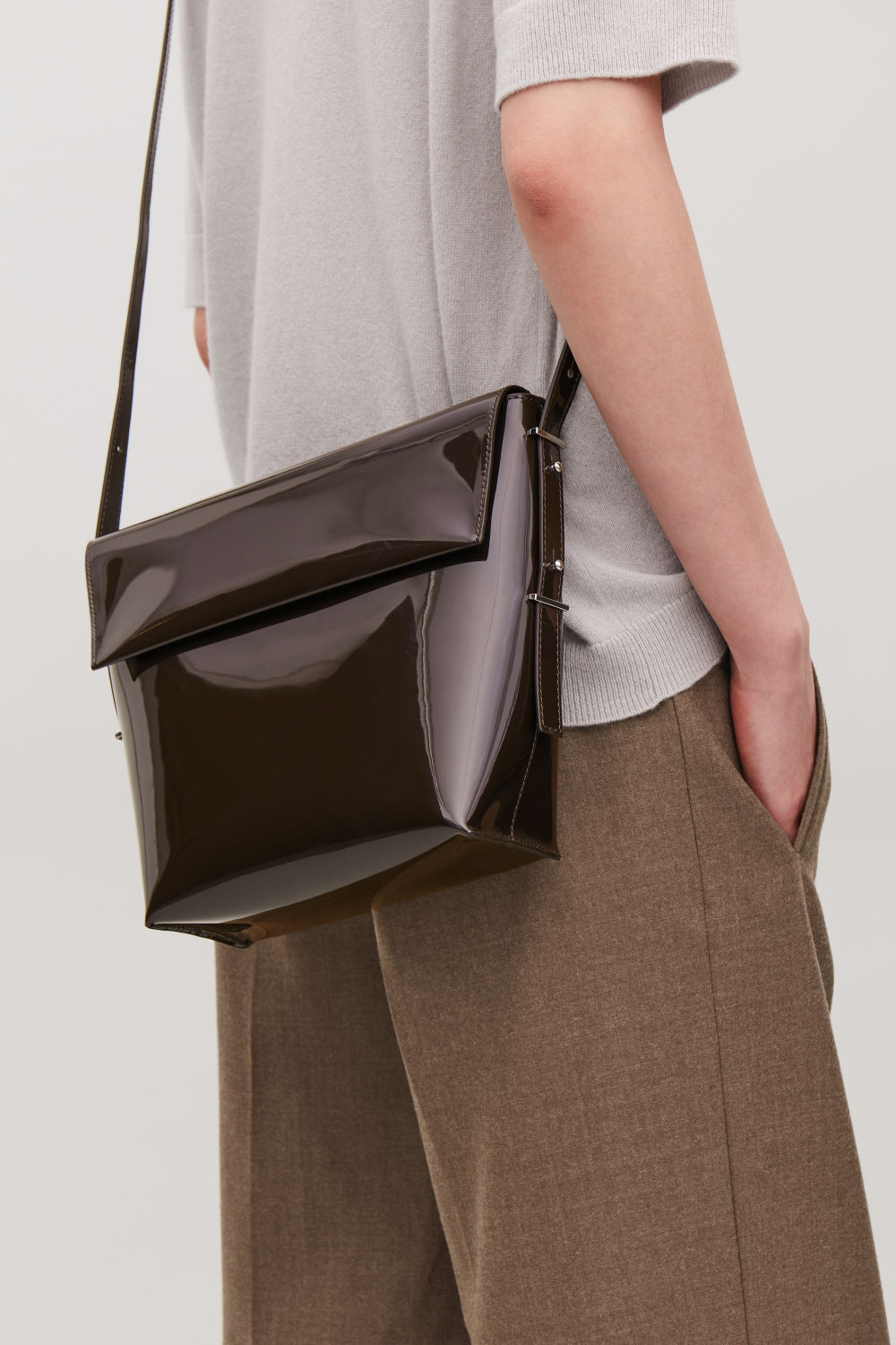 POLISHED-LEATHER CROSSBODY BAG