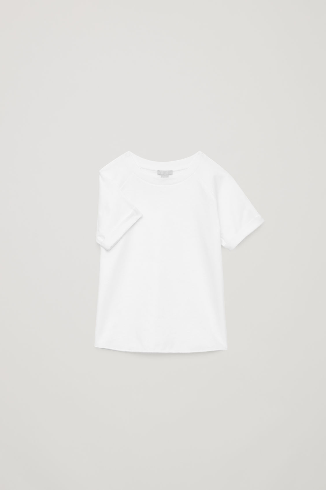 Detailed image of Cos raglan-sleeved cotton t-shirt in white