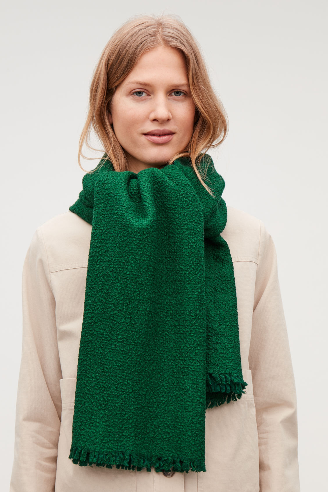Detailed image of Cos textured wool-silk scarf in green