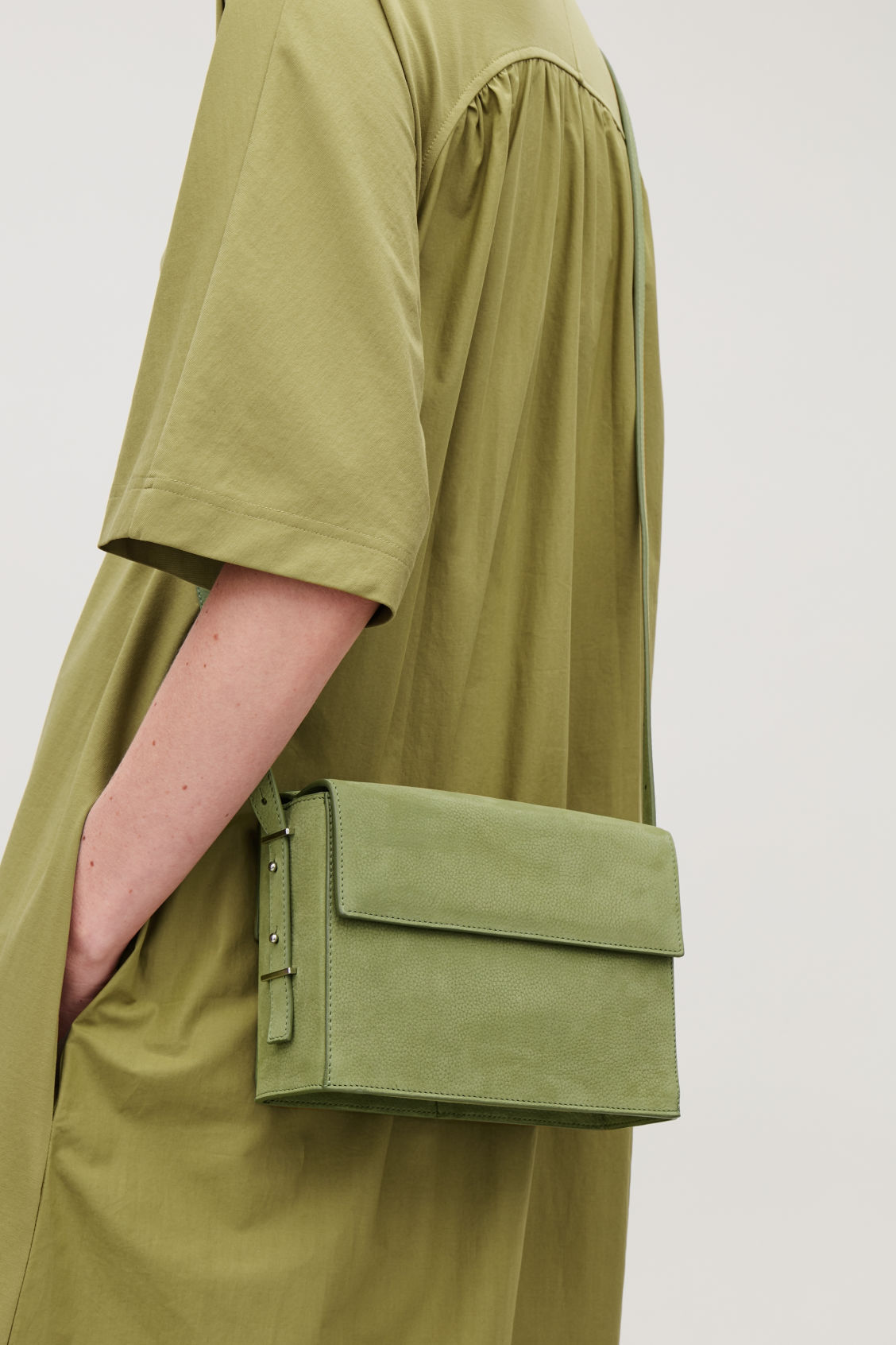 Detailed image of Cos double-flap box leather bag in green