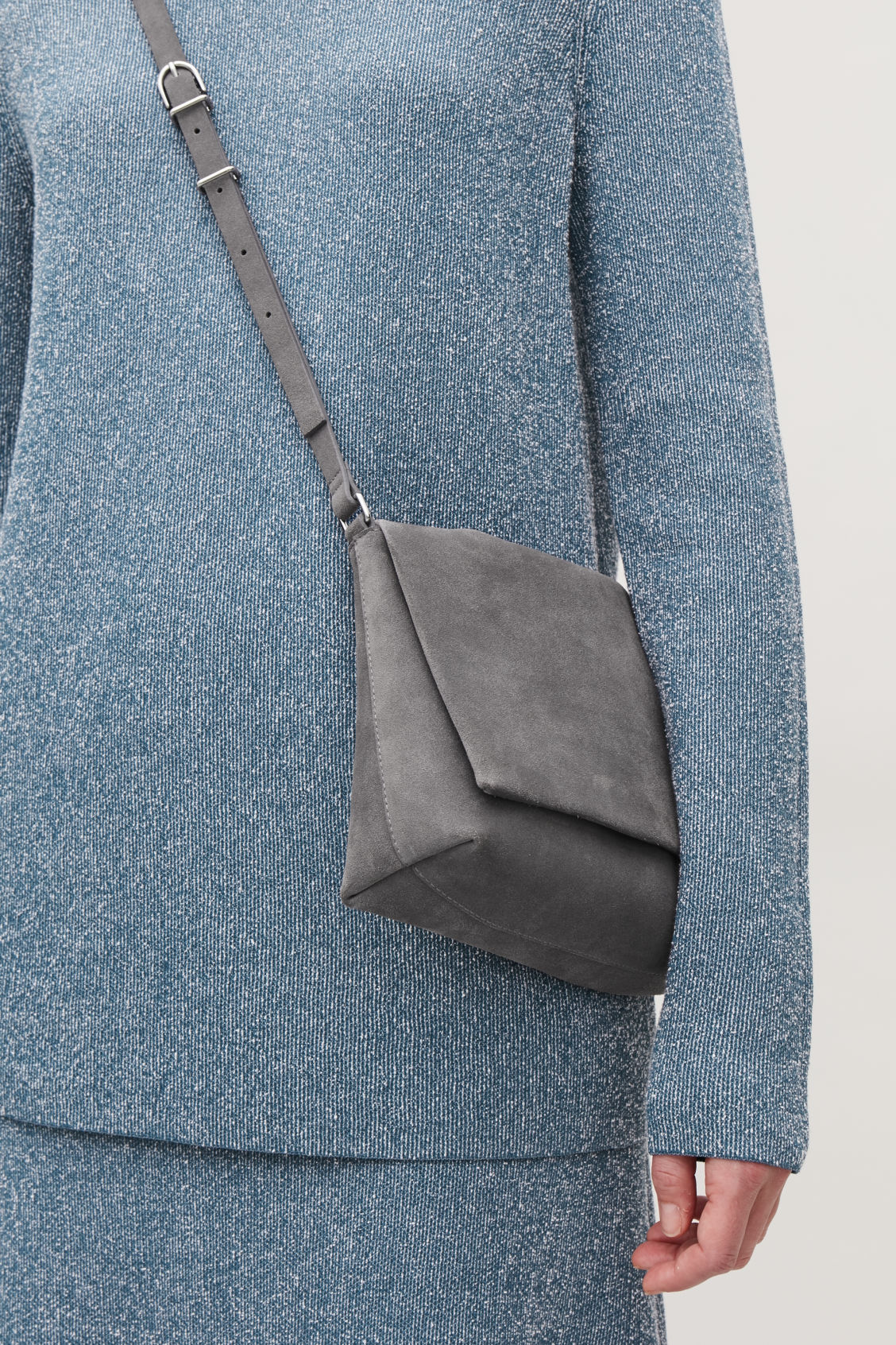 Detailed image of Cos small soft-leather shoulder bag in grey