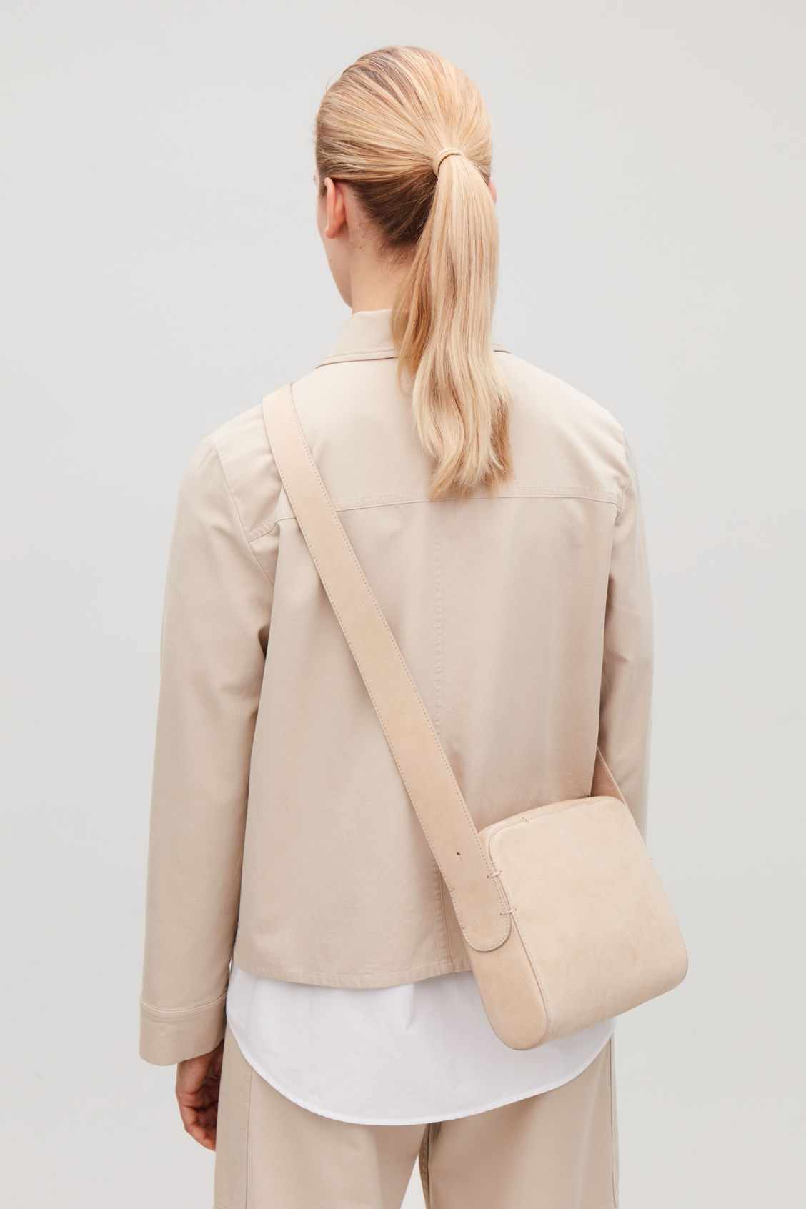 Detailed image of Cos nubuck leather shoulder bag in beige