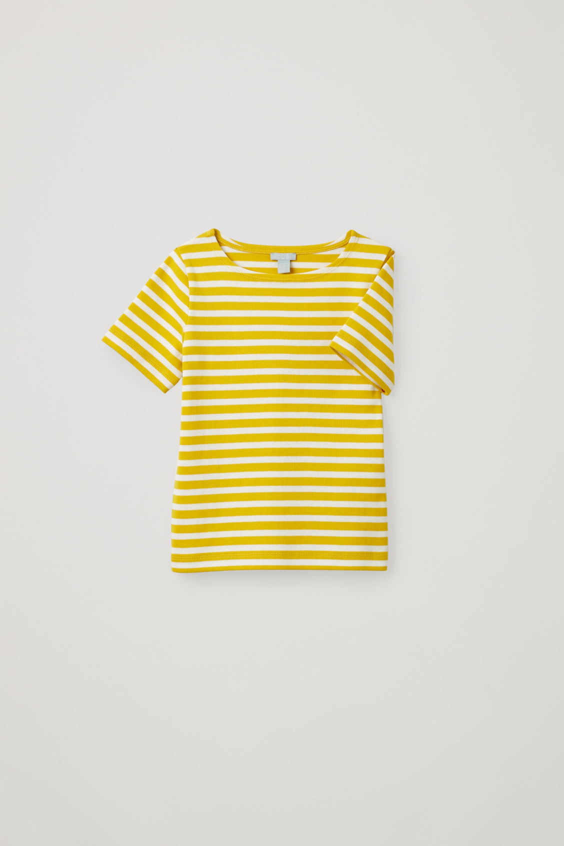 Detailed image of Cos striped short-sleeved t-shirt in yellow