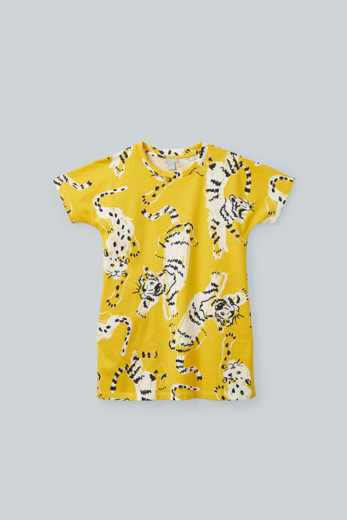 Detailed image of Cos tiger-printed jersey dress in yellow