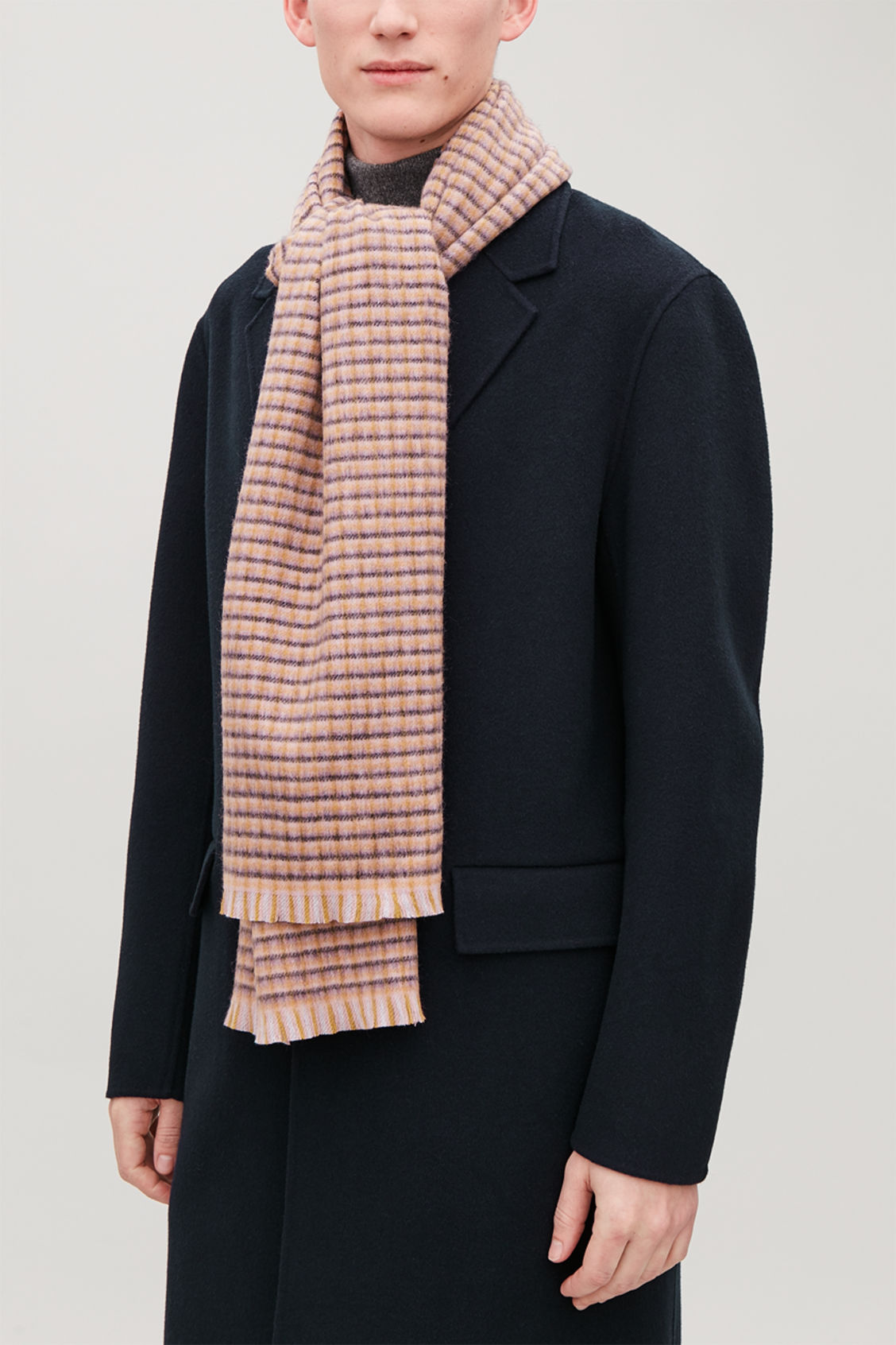 Detailed image of Cos checked wool-cashmere scarf  in blue