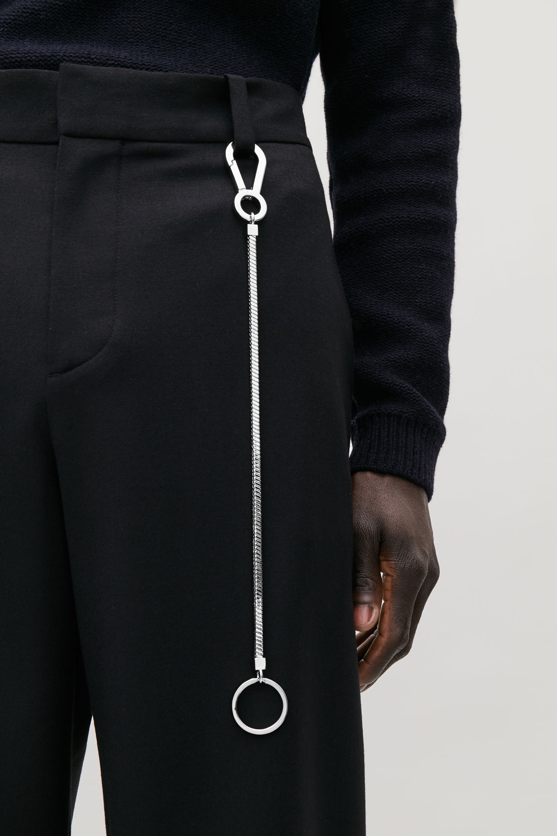 Detailed image of Cos metal keyring chain with hook in silver