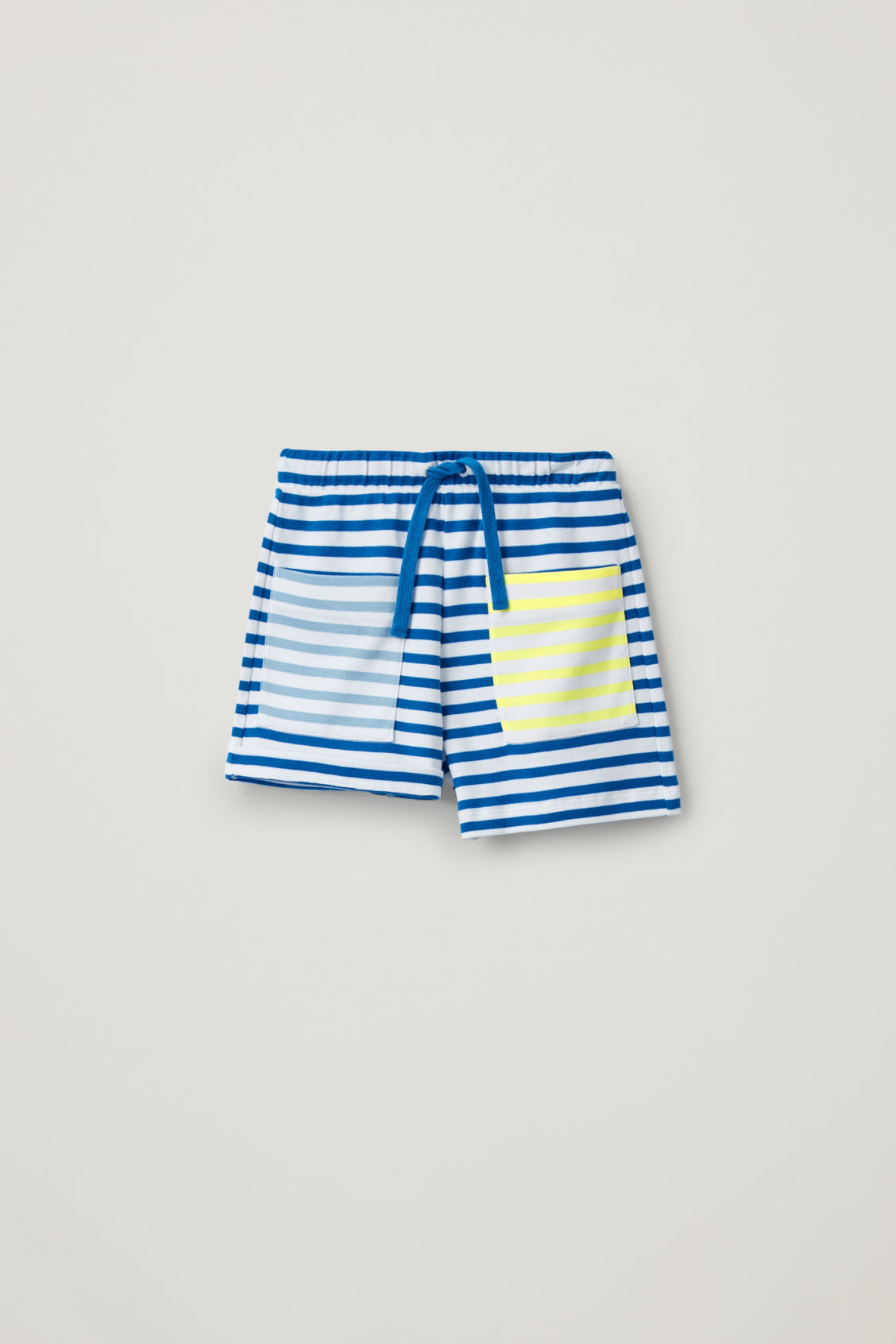 Detailed image of Cos contrast-stripe organic-cotton shorts in blue