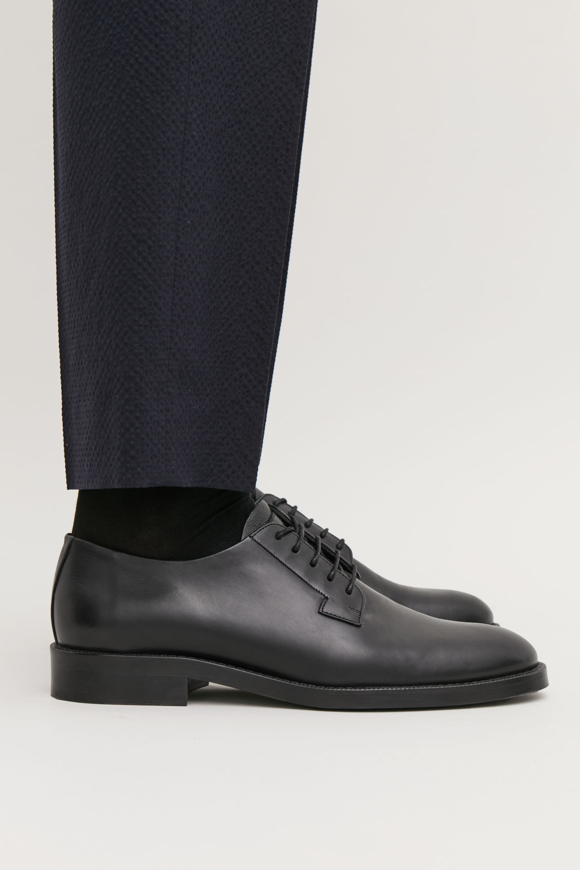 Detailed image of Cos leather lace-up derby shoes in black